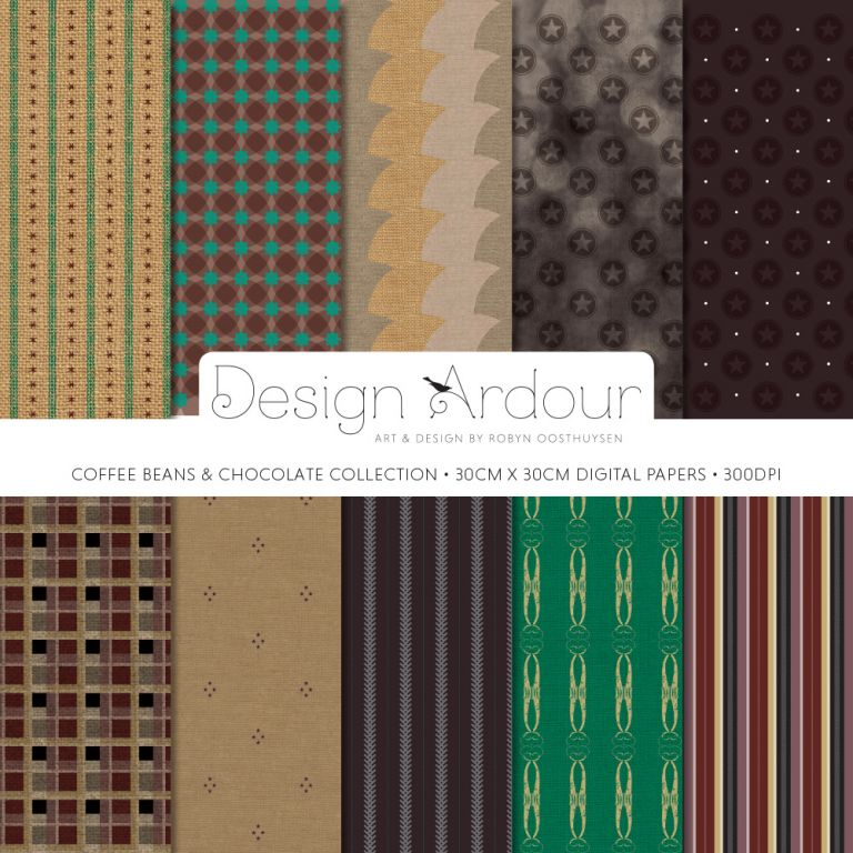 Design Ardour: Art & Design by Robyn Oosthuysen | Digital Papers | Coffee Beans and Chocolate Collection