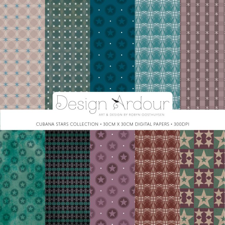 Design Ardour: Art & Design by Robyn Oosthuysen | Digital Papers | Cubana Stars cCollection