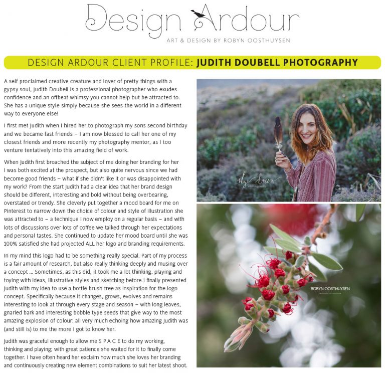 Design Ardour: Art & Design by Robyn Oosthuysen  |  Judith Doubell Photography branding