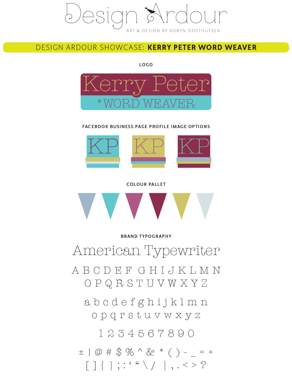 Design Ardour: Art & Design by Robyn Oosthuysen | Kerry Peter Words Weaver branding