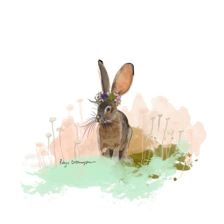 Hare Illustration, www.designardour.com, Design Ardour, #logo, #hare, #branding, #mint, #coral